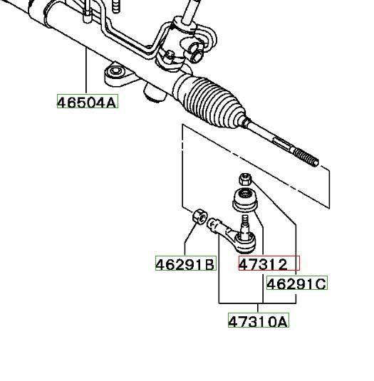 схема рулевых наконечников лансер 9